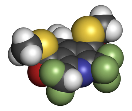 fluorine: Dithiopyr preemergent herbicide molecule. 3D rendering. Atoms are represented as spheres with conventional color coding: hydrogen (white), carbon (grey), oxygen (red), nitrogen (blue), sulfur (yellow), fluorine (light green).