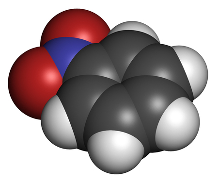 carcinogen: Nitrobenzene solvent molecule. 3D rendering. Atoms are represented as spheres with conventional color coding: hydrogen (white), carbon (grey), oxygen (red), nitrogen (blue).