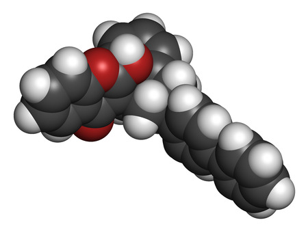 anticoagulant: Difenacoum rodenticide molecule (vitamin K antagonist). 3D rendering. Atoms are represented as spheres with conventional color coding: hydrogen (white), carbon (grey), oxygen (red).