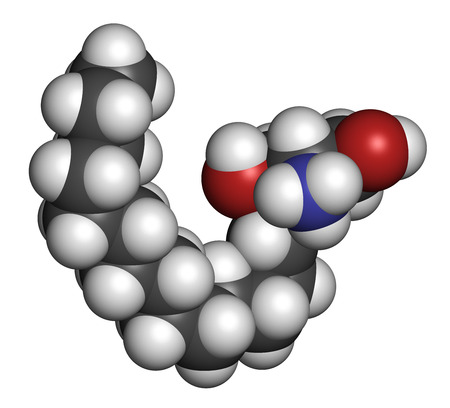 lipid: Sphingosine lipid molecule. 3D rendering. Atoms are represented as spheres with conventional color coding: hydrogen (white), carbon (grey), oxygen (red), nitrogen (blue).