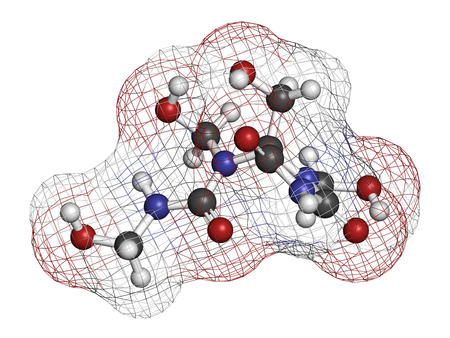preservative: Diazolidinyl urea antimicrobial preservative molecule (formaldehyde releaser). 3D rendering. Atoms are represented as spheres with conventional color coding: hydrogen (white), carbon (grey), oxygen (red), nitrogen (blue). Stock Photo