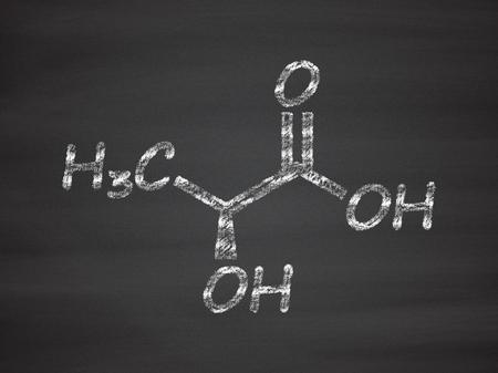 dimer: L-lactide PLA precursor molecule. Used in synthesis of polymeric polylactic acid (polylactide, polylactate) plastic. Chalk on blackboard style illustration.
