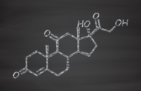 atopic: Cortisone stress hormone molecule. Chalk on blackboard style illustration. Stock Photo