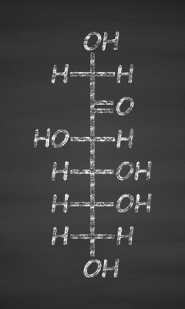fructose: Fructose (D-fructose) fruit sugar molecule. Component of high-fructose corn syrup (HFCS). Chalk on blackboard style illustration.