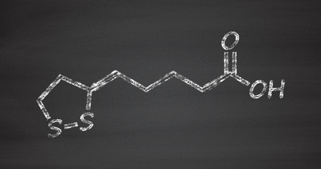 enzyme: Lipoic acid enzyme cofactor molecule. Present in many nutritional supplements. Believed to have anti-oxidant, anti-aging and weight-loss effects. Chalk on blackboard style illustration.