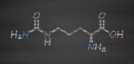 urea: Citrulline amino acid molecule. Present in some athletic dietary supplements. Chalk on blackboard style illustration.