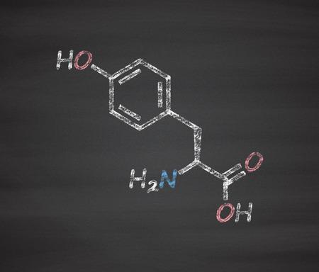 tyr: Tyrosine (l-tyrosine, Tyr, Y) amino acid molecule. Chalk on blackboard style illustration.