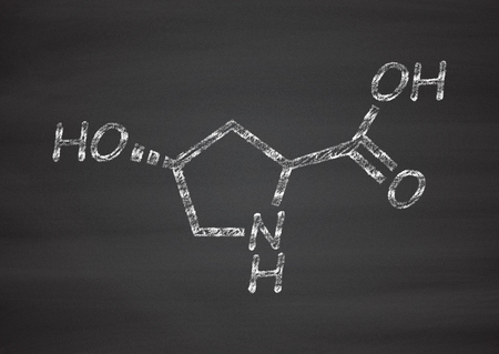 proline: Hydroxyproline (Hyp) amino acid. Essential component of collagen. Chalk on blackboard style illustration.