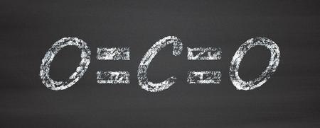 carbon emission: Carbon dioxide (CO2) molecule, flat icon style. Greenhouse gas. Chalk on blackboard style illustration.