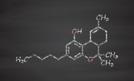 THC (delta-9-tetrahydrocannabinol, dronabinol) cannabis drug molecule. Chalk on blackboard style illustration.