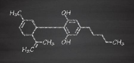 cannabinoid: Cannabidiol (CBD) cannabis molecule. Has antipsychotic effects. Chalk on blackboard style illustration.