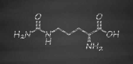 amoníaco: Citrulina amino molécula de ácido. Presente en algunos suplementos dietéticos atléticos. Tiza en la pizarra estilo de ilustración. Foto de archivo