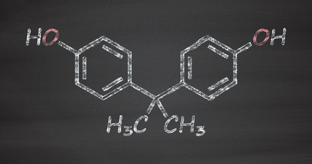 polycarbonate: Bisphenol A (BPA) plastic pollutant molecule. Chemical often present in polycarbonate plastics, has estrogen disrupting effects. Chalk on blackboard style illustration.