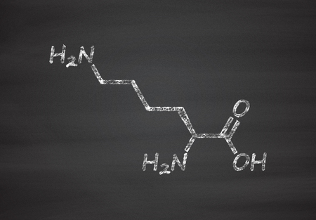 lysine: Lysine (l-lysine, Lys, K) amino acid molecule. Chalk on blackboard style illustration. Stock Photo