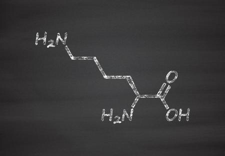 amide: Lysine (l-lysine, Lys, K) amino acid molecule. Chalk on blackboard style illustration. Stock Photo