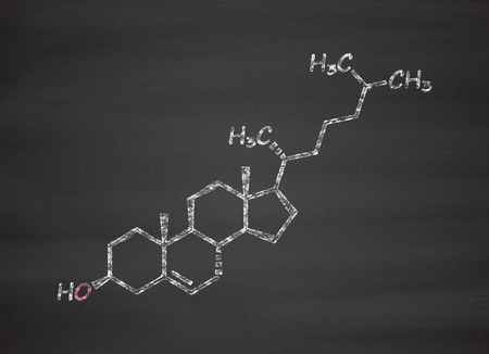 precursor: Cholesterol molecule. Essential component of cell membranes and precursor of steroid hormones, bile acids and vitamin D. Chalk on blackboard style illustration. Stock Photo