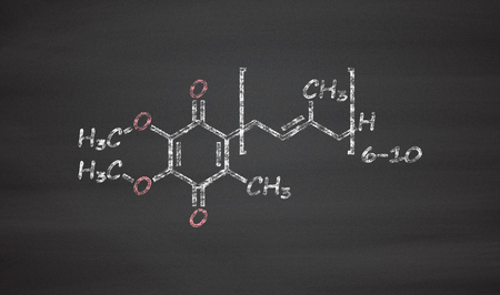 chemical structure: Coenzyme Q10 (ubiquinone, ubidecarenone, CoQ10) molecule, chemical structure. Plays an essential role in the production of cellular energy; has antioxidant properties. Chalk on blackboard style illustration.