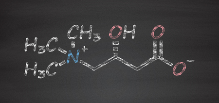 chemical structure: Carnitine food supplement molecule, chemical structure Stock Photo