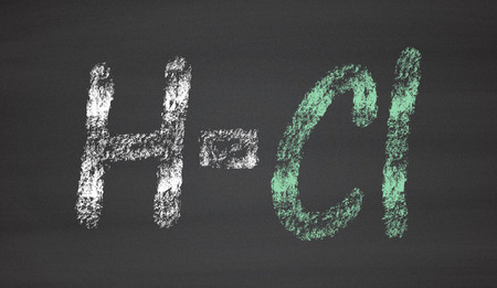 hydrochloric: Hydrogen chloride (HCl) molecule. Highly corrosive mineral acid and is the acid component of gastric juice. Chalk on blackboard style illustration. Stock Photo