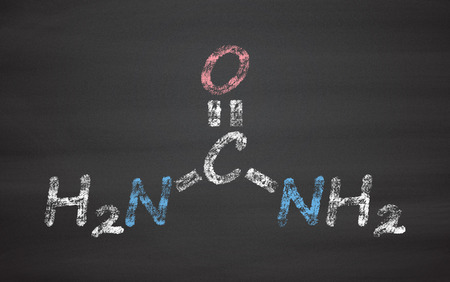 amide: Urea (carbamide) molecule. Used in cosmetics, fertilizer; present in urine. Chalk on blackboard style illustration.