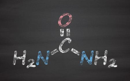 Urea (carbamide) molecule. Used in cosmetics, fertilizer; present in urine. Chalk on blackboard style illustration.