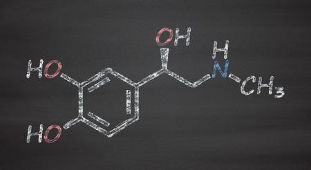 Adrenaline (adrenalin, epinephrine) neurotransmitter molecule. Used as drug in treatment of anaphylaxis. Chalk on blackboard style illustration.