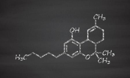 cannabinoid: THC (delta-9-tetrahydrocannabinol, dronabinol) cannabis drug molecule. Chalk on blackboard style illustration.