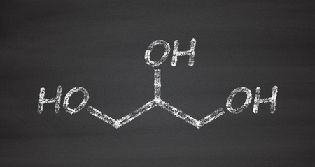 glycerin: Glycerol (glycerin) molecule. Produced from fat and oil triglycerides. Used as sweetener, solvent and preservative in food and drugs. Chalk on blackboard style illustration.