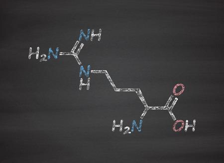 oxide: Arginine (L-arginine, Arg, R) amino acid molecule. Chalk on blackboard style illustration.