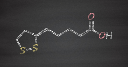 chelation: Lipoic acid enzyme cofactor molecule. Present in many nutritional supplements. Believed to have anti-oxidant, anti-aging and weight-loss effects. Stock Photo
