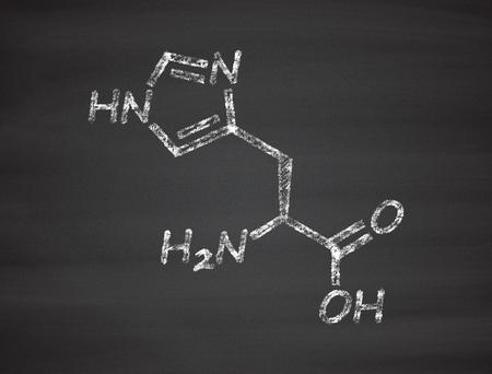 ácido: Histidina (L-histidina, su, H) molécula de ácido amino. Foto de archivo