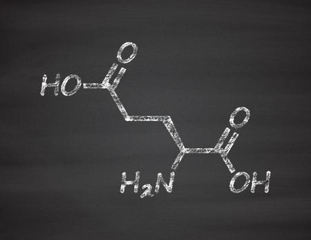neurotransmitter: Glutamic acid (l-glutamic acid, Glu, E) amino acid and neurotransmitter molecule. Chalk on blackboard style illustration. Stock Photo