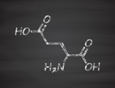 Glutamic acid (l-glutamic acid, Glu, E) amino acid and neurotransmitter molecule. Chalk on blackboard style illustration. Stock Photo