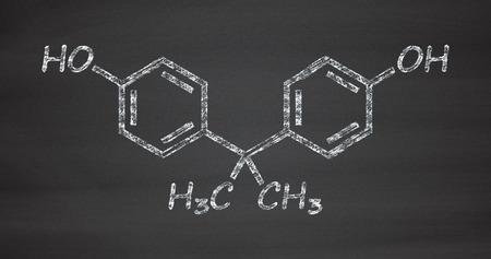 disrupting: Bisphenol A (BPA) plastic pollutant molecule. Chemical often present in polycarbonate plastics, has estrogen disrupting effects. Chalk on blackboard style illustration.