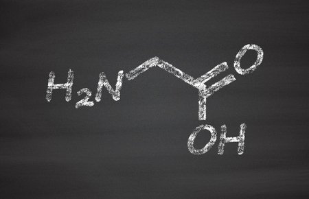 polypeptide: Glycine (Gly, G) amino acid molecule. Chalk on blackboard style illustration.