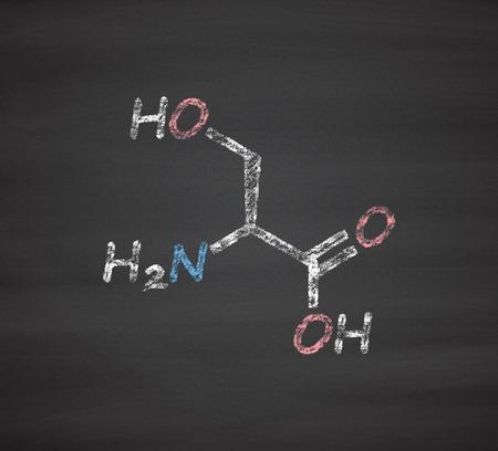 serine: Serine (l-serine, Ser, S) amino acid molecule. Chalk on blackboard style illustration.