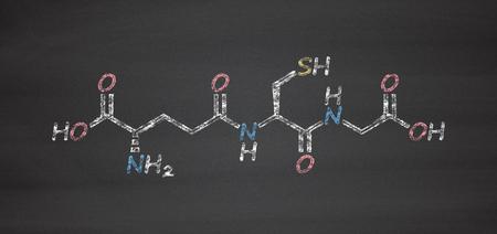 disulfide: Glutathione (reduced glutathione, GSH) endogenous antioxidant molecule. Chalk on blackboard style illustration.