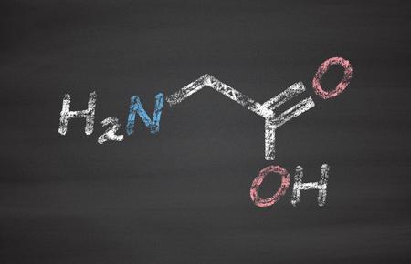 inhibitory: Glycine (Gly, G) amino acid molecule. Chalk on blackboard style illustration.