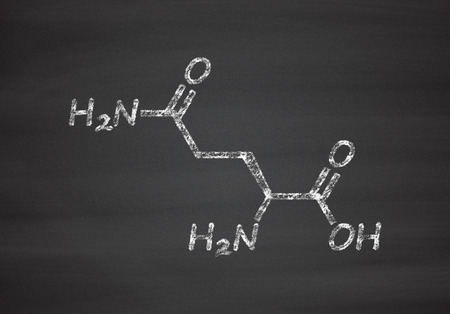 amoniaco: Glutamine (l-glutamine, Gln, Q) amino acid molecule. Chalk on blackboard style illustration.