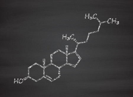 bile: Cholesterol molecule. Essential component of cell membranes and precursor of steroid hormones, bile acids and vitamin D. Chalk on blackboard style illustration. Stock Photo