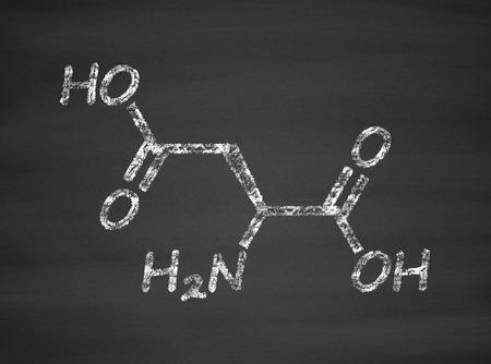 asp: Aspartic acid (L-aspartic acid, Asp, D) amino acid molecule. Chalk on blackboard style illustration.