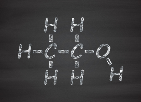 ethanol: Ethanol (alcohol) molecule. Chalk on blackboard style illustration. Stock Photo
