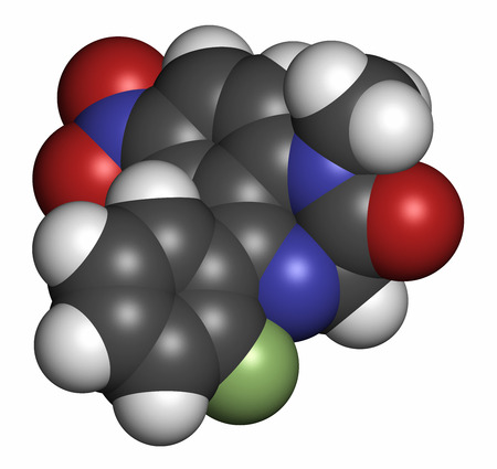 Flunitrazepam hypnotic drug molecule. 3D rendering. Atoms are represented as spheres with conventional color coding: hydrogen (white), carbon (grey), oxygen (red), nitrogen (blue), fluorine (light green).