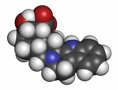 aphrodisiac: Yohimbine alkaloid molecule. Used as aphrodisiac drug. 3D rendering. Atoms are represented as spheres with conventional color coding: hydrogen (white), carbon (grey), oxygen (red), nitrogen (blue).