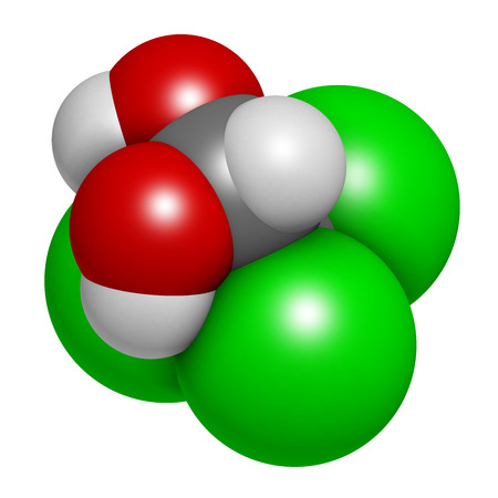 hydrogen: Chloral hydrate sedative and hypnotic drug molecule. 3D rendering. Atoms are represented as spheres with conventional color coding: hydrogen (white), carbon (grey), oxygen (red), chlorine (green).