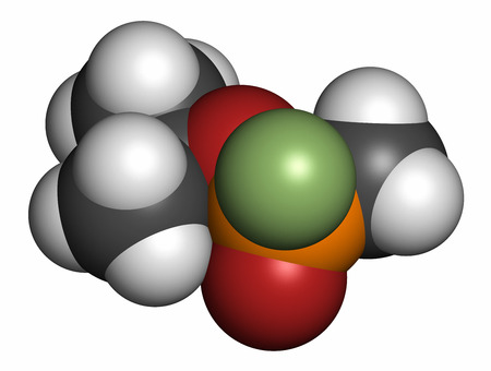 phosphorus: Sarin nerve agent molecule (chemical weapon). 3D rendering. Atoms are represented as spheres with conventional color coding: hydrogen (white), carbon (grey), oxygen (red), phosphorus (orange), fluorine (light green).