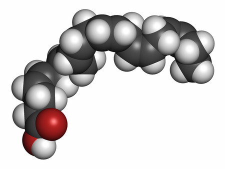 Docosahexaenoic acid (DHA, cervonic acid) molecule. Polyunsaturated omega-3 fatty acid present in fish oil. 3D rendering. Atoms are represented as spheres with conventional color coding: hydrogen (white), carbon (grey), oxygen (red).