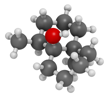 flavor: Geosmin earthy flavor molecule. Responsible for the typical taste of beetroot. 3D rendering. Atoms are represented as spheres with conventional color coding: hydrogen (white), carbon (grey), oxygen (red). Stock Photo