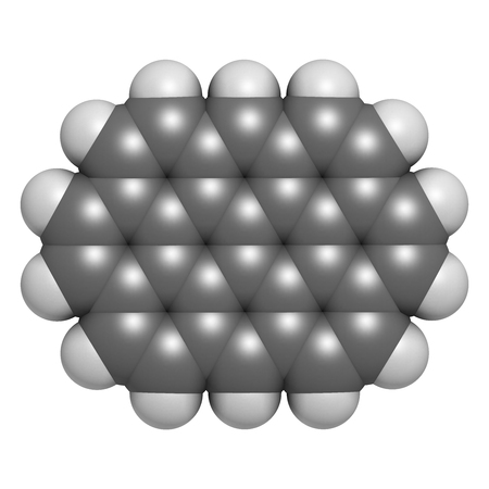 aromatic: Ovalene polycyclic aromatic hydrocarbon molecule. 3D rendering. Atoms are represented as spheres with conventional color coding: hydrogen (white), carbon (grey).