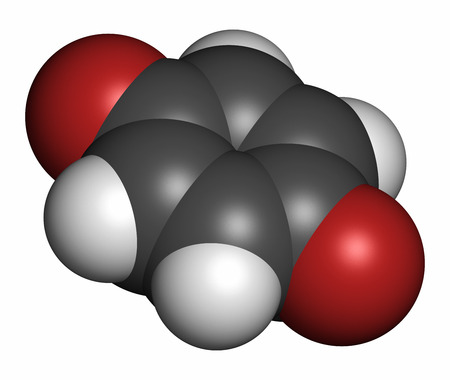 para: Benzoquinone (quinone, para-benzoquinone) molecule. 3D rendering. Atoms are represented as spheres with conventional color coding: hydrogen (white), carbon (grey), oxygen (red).